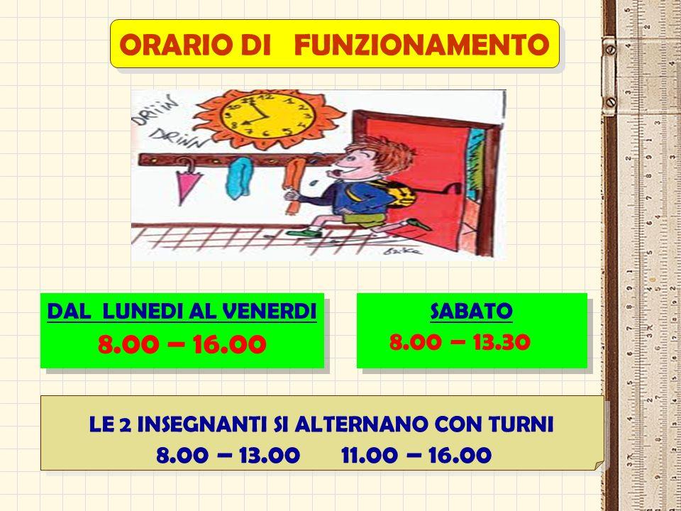 ORARIO DI FUNZIONAMENTO DAL LUNEDI AL VENERDI 8.00 – 16.00 DAL LUNEDI AL VENERDI 8.00 – 16.00 SABATO 8.00 – 13.30 SABATO 8.00 – 13.30 LE 2 INSEGNANTI SI ALTERNANO CON TURNI 8.00 – 13.00 11.00 – 16.00 LE 2 INSEGNANTI SI ALTERNANO CON TURNI 8.00 – 13.00 11.00 – 16.00