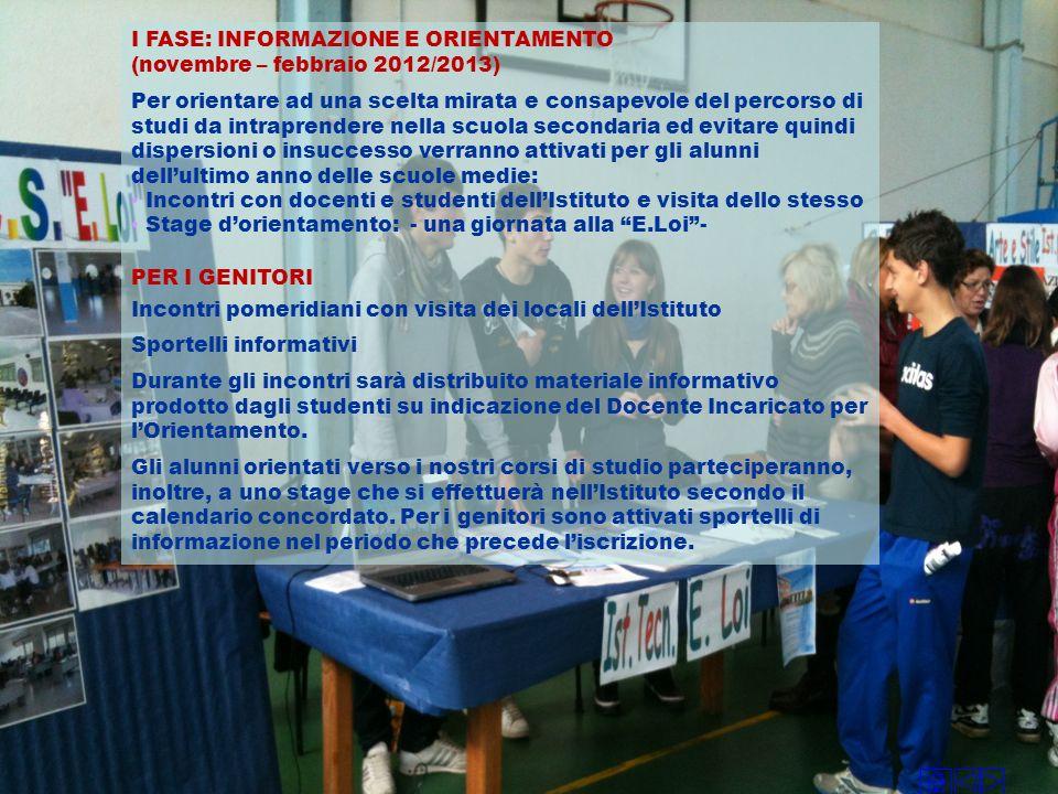 I FASE: INFORMAZIONE E ORIENTAMENTO (novembre – febbraio 2012/2013) Per orientare ad una scelta mirata e consapevole del percorso di studi da intrapre