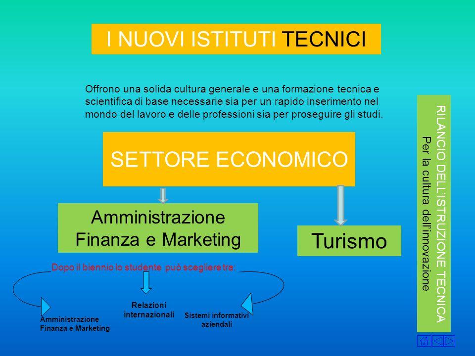 Sistemi informativi aziendali I NUOVI ISTITUTI TECNICI Offrono una solida cultura generale e una formazione tecnica e scientifica di base necessarie s