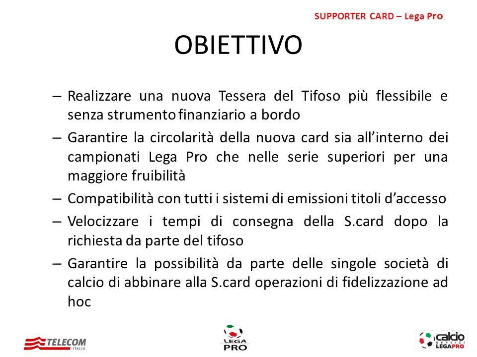 – Realizzare una nuova Tessera del Tifoso più flessibile e senza strumento finanziario a bordo – Garantire la circolarità della nuova card sia allinte