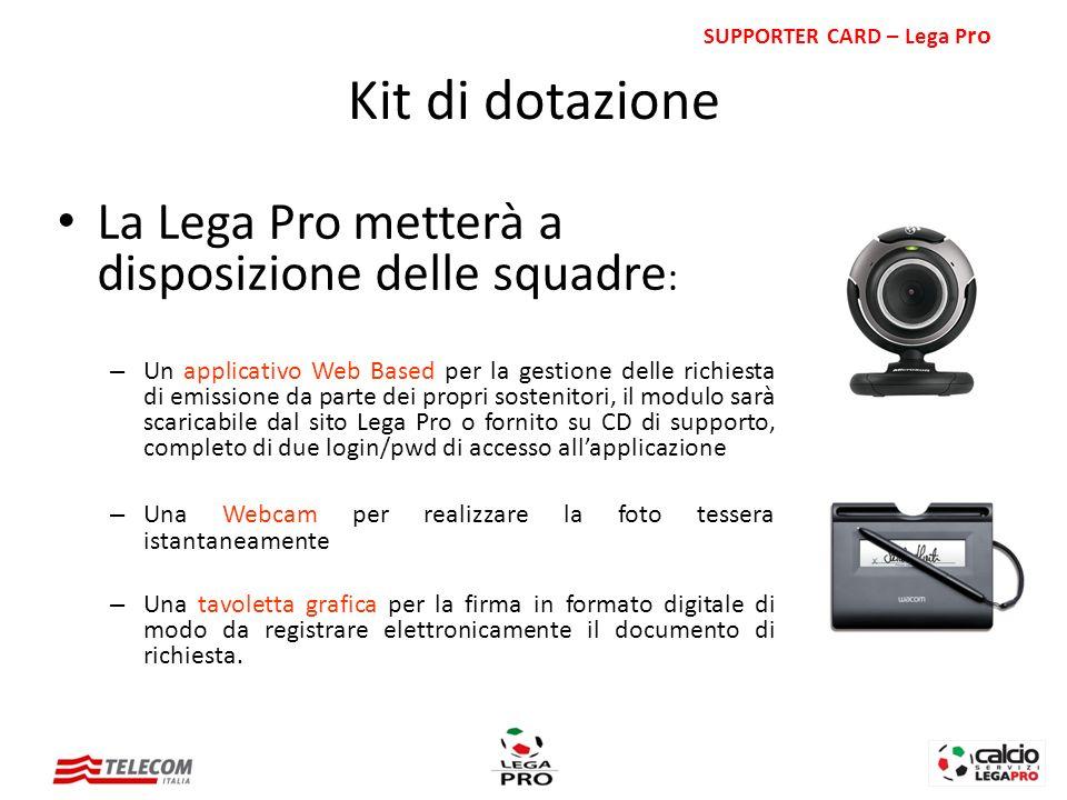 La Lega Pro metterà a disposizione delle squadre : – Un applicativo Web Based per la gestione delle richiesta di emissione da parte dei propri sosteni