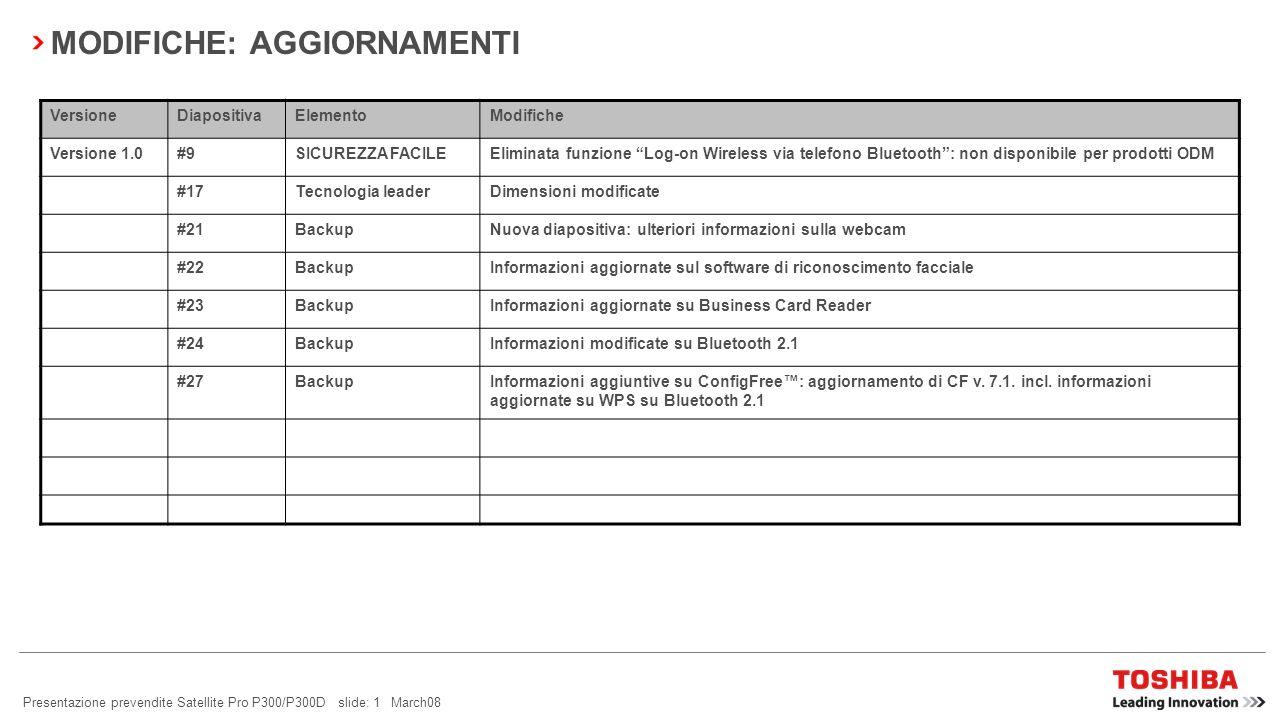 Presentazione prevendite Satellite Pro P300/P300D slide: 1 March08 MODIFICHE: AGGIORNAMENTI VersioneDiapositivaElementoModifiche Versione 1.0#9SICUREZZA FACILEEliminata funzione Log-on Wireless via telefono Bluetooth: non disponibile per prodotti ODM #17Tecnologia leaderDimensioni modificate #21BackupNuova diapositiva: ulteriori informazioni sulla webcam #22BackupInformazioni aggiornate sul software di riconoscimento facciale #23BackupInformazioni aggiornate su Business Card Reader #24BackupInformazioni modificate su Bluetooth 2.1 #27BackupInformazioni aggiuntive su ConfigFree: aggiornamento di CF v.