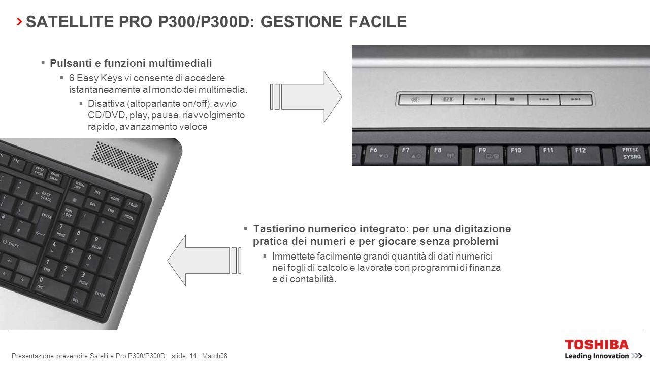 Presentazione prevendite Satellite Pro P300/P300D slide: 13 March08 SATELLITE PRO P300/P300D: GESTIONE FACILE Smart Display Support Per migliorare la