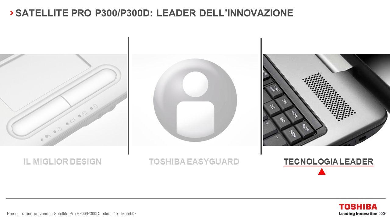 Presentazione prevendite Satellite Pro P300/P300D slide: 14 March08 SATELLITE PRO P300/P300D: GESTIONE FACILE Tastierino numerico integrato: per una d