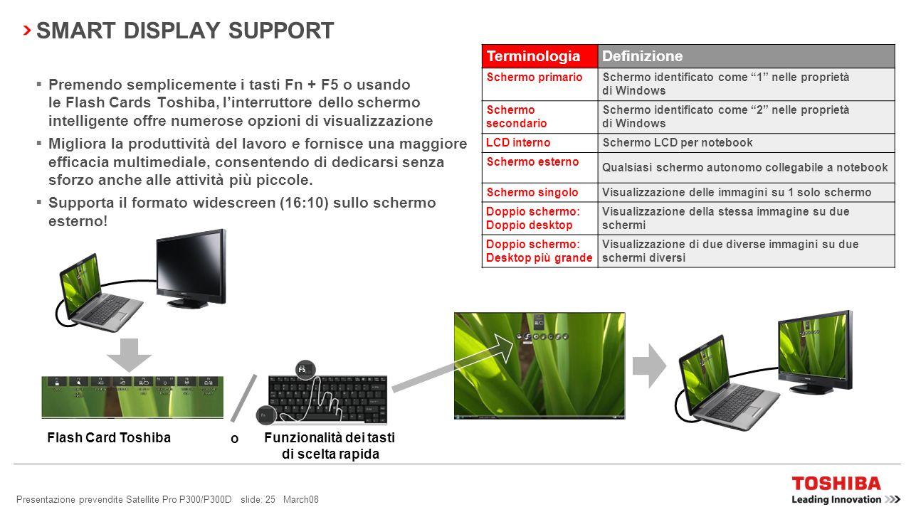 Presentazione prevendite Satellite Pro P300/P300D slide: 24 March08 BLUETOOTH ® 2.1 + EDR Consumi ridotti Sniff Subrating viene utilizzato per ridurre