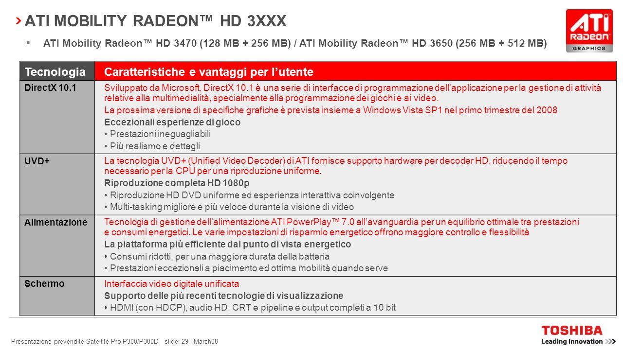 Presentazione prevendite Satellite Pro P300/P300D slide: 28 March08 TOSHIBA DIVERSITY ANTENNA Cosè una Diversity Antenna? Questa innovazione Toshiba è