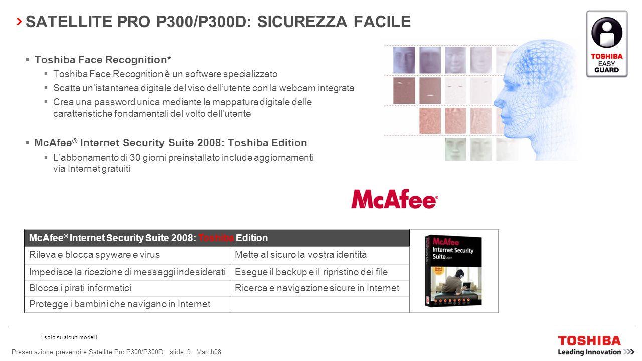 Presentazione prevendite Satellite Pro P300/P300D slide: 19 March08