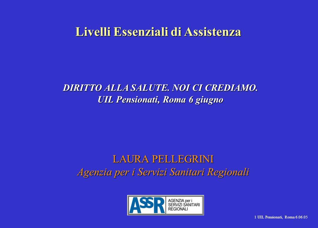 1 UIL Pensionati, Roma 6.06.05 LAURA PELLEGRINI Agenzia per i Servizi Sanitari Regionali Livelli Essenziali di Assistenza DIRITTO ALLA SALUTE.