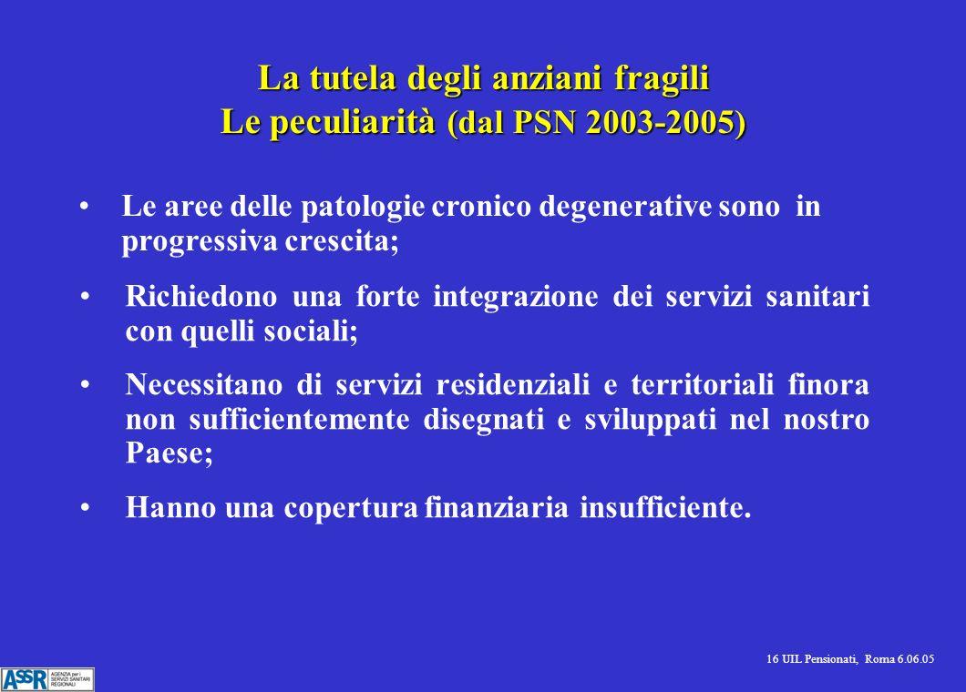 16 UIL Pensionati, Roma 6.06.05 La tutela degli anziani fragili Le peculiarità (dal PSN 2003-2005) Richiedono una forte integrazione dei servizi sanit