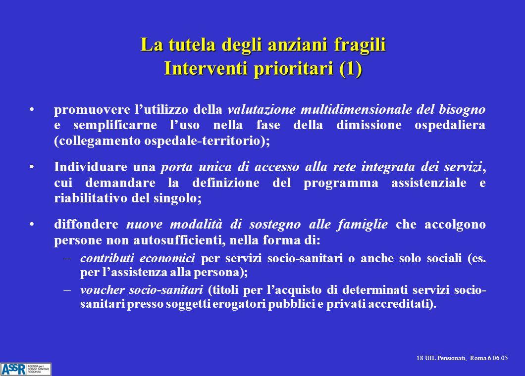 18 UIL Pensionati, Roma 6.06.05 La tutela degli anziani fragili Interventi prioritari (1) promuovere lutilizzo della valutazione multidimensionale del