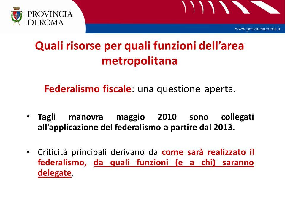 Quali risorse per quali funzioni dellarea metropolitana Federalismo fiscale: una questione aperta.