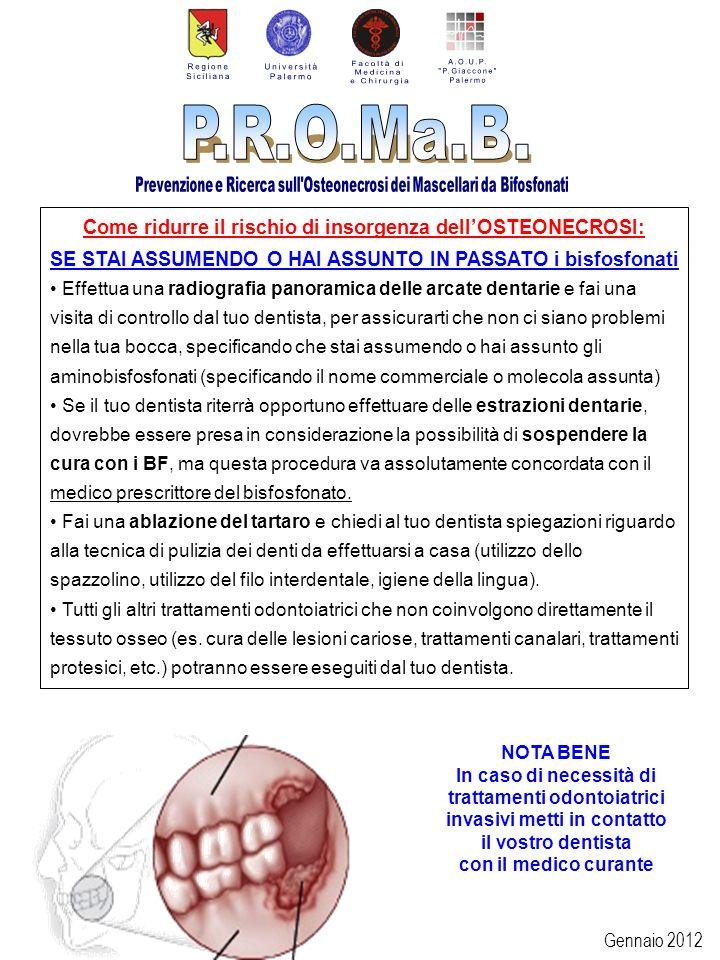 Gennaio 2012 Come ridurre il rischio di insorgenza dellOSTEONECROSI: SE STAI ASSUMENDO O HAI ASSUNTO IN PASSATO i bisfosfonati Effettua una radiografi
