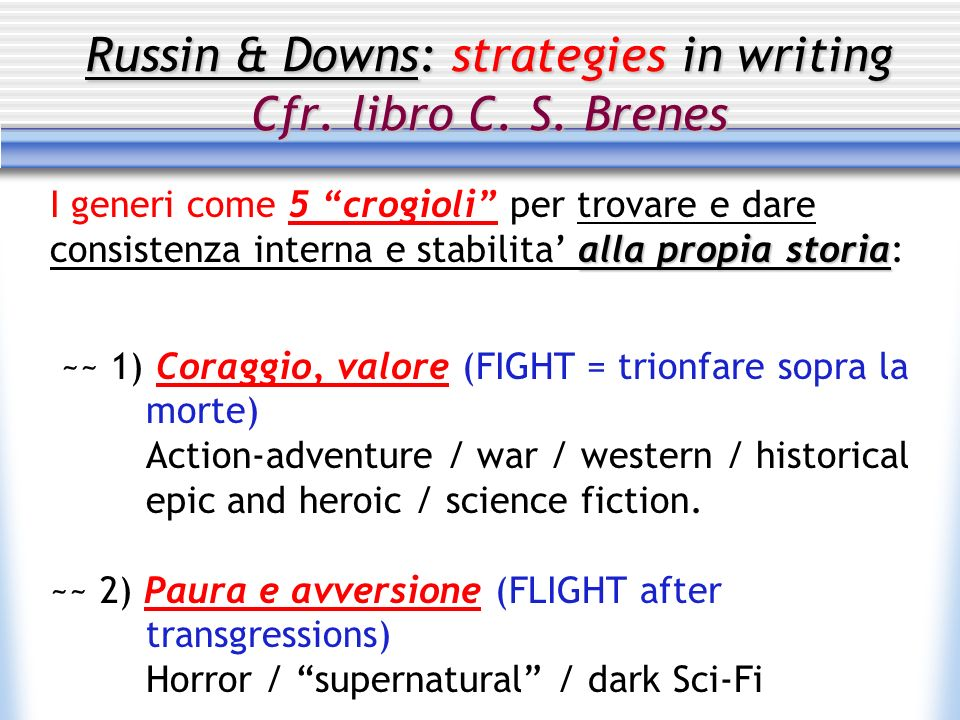 Russin & Downs: strategies in writing Cfr.libro C.