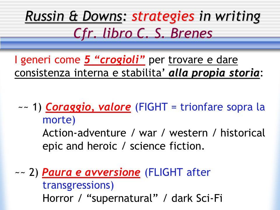 Russin & Downs: strategies in writing Cfr. libro C. S. Brenes I generi come 5 crogioli per trovare e dare consistenza interna e stabilita alla propia