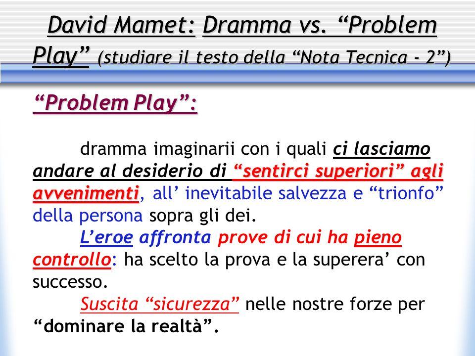 David Mamet: Dramma vs. Problem Play (studiare il testo della Nota Tecnica - 2) Problem Play: sentirci superiori agli avvenimenti dramma imaginarii co