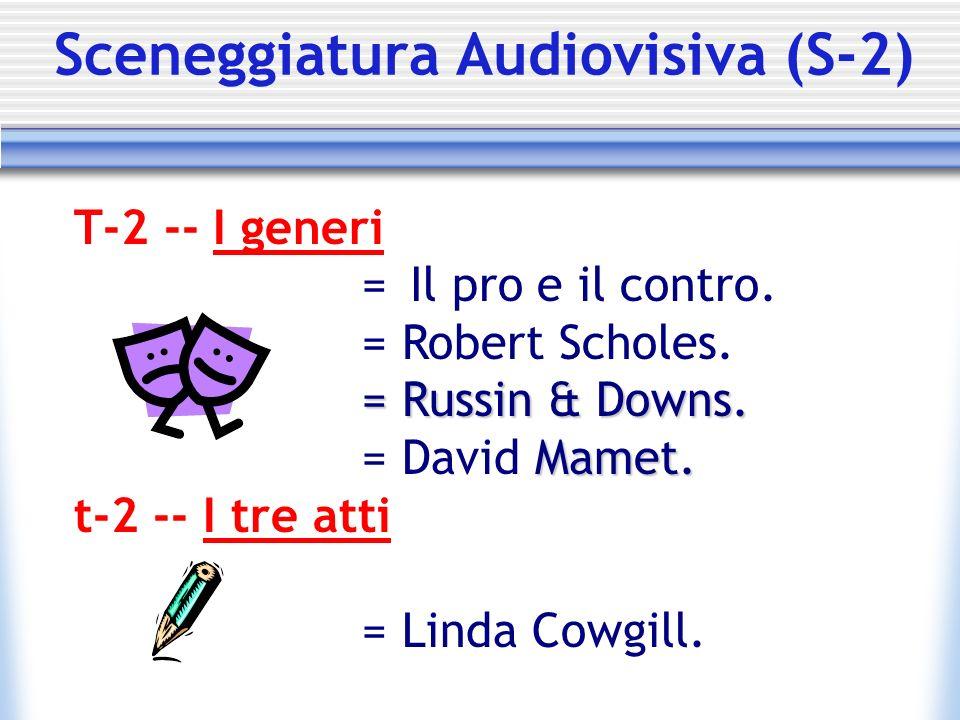 Sceneggiatura Audiovisiva (S-2) T-2 -- I generi = Il pro e il contro. = Robert Scholes. = Russin & Downs. Mamet. = David Mamet. t-2 -- I tre atti = Li