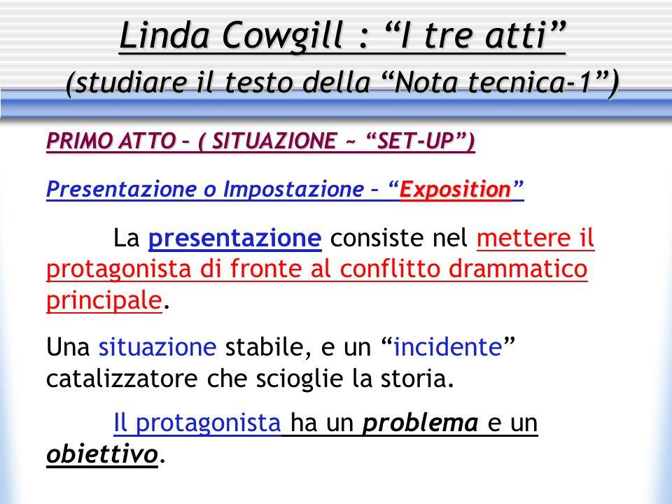 Linda Cowgill : I tre atti (studiare il testo della Nota tecnica-1 ) PRIMO ATTO – ( SITUAZIONE ~ SET-UP) Exposition Presentazione o Impostazione – Exp