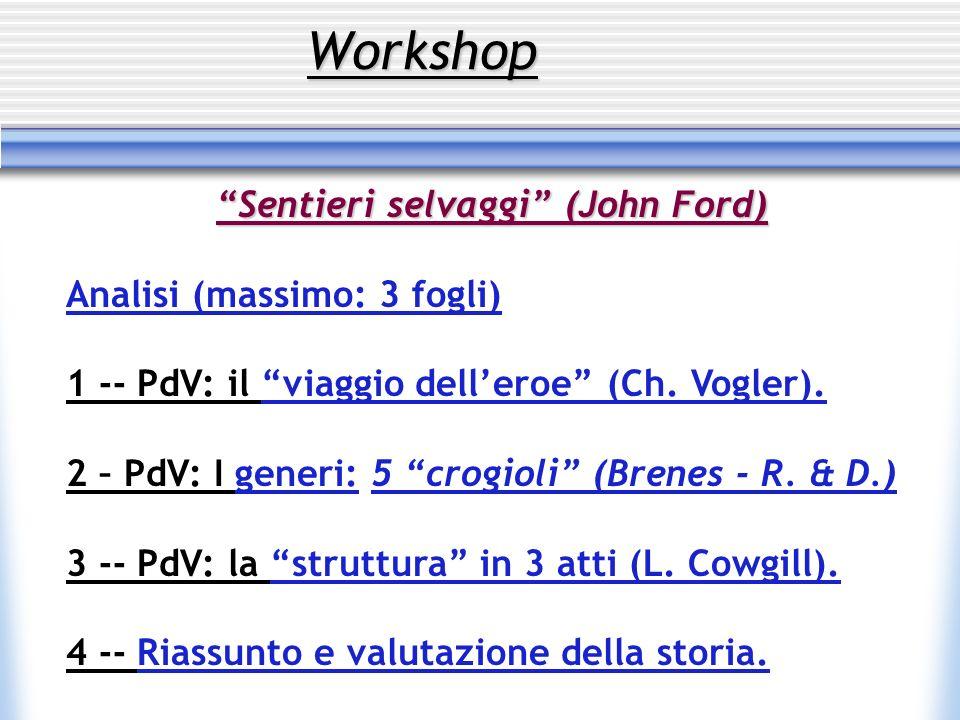 Workshop Sentieri selvaggi (John Ford) Analisi (massimo: 3 fogli) 1 -- PdV: il viaggio delleroe (Ch. Vogler). 2 – PdV: I generi: 5 crogioli (Brenes -