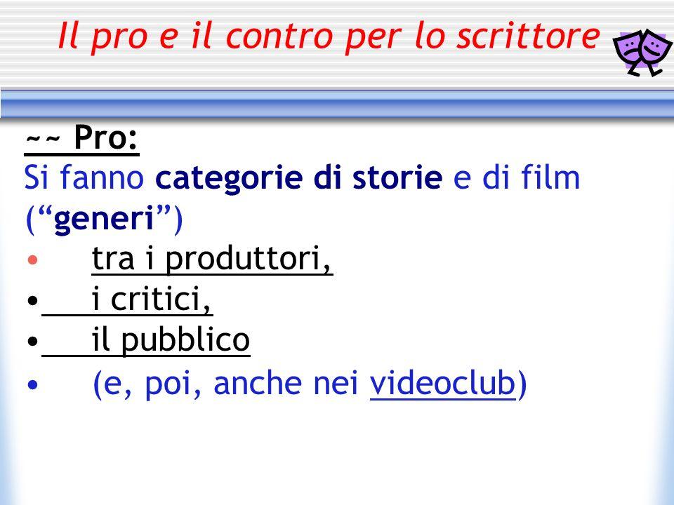 Il pro e il contro per lo scrittore ~~ Pro: Si fanno categorie di storie e di film (generi) tra i produttori, i critici, il pubblico (e, poi, anche ne