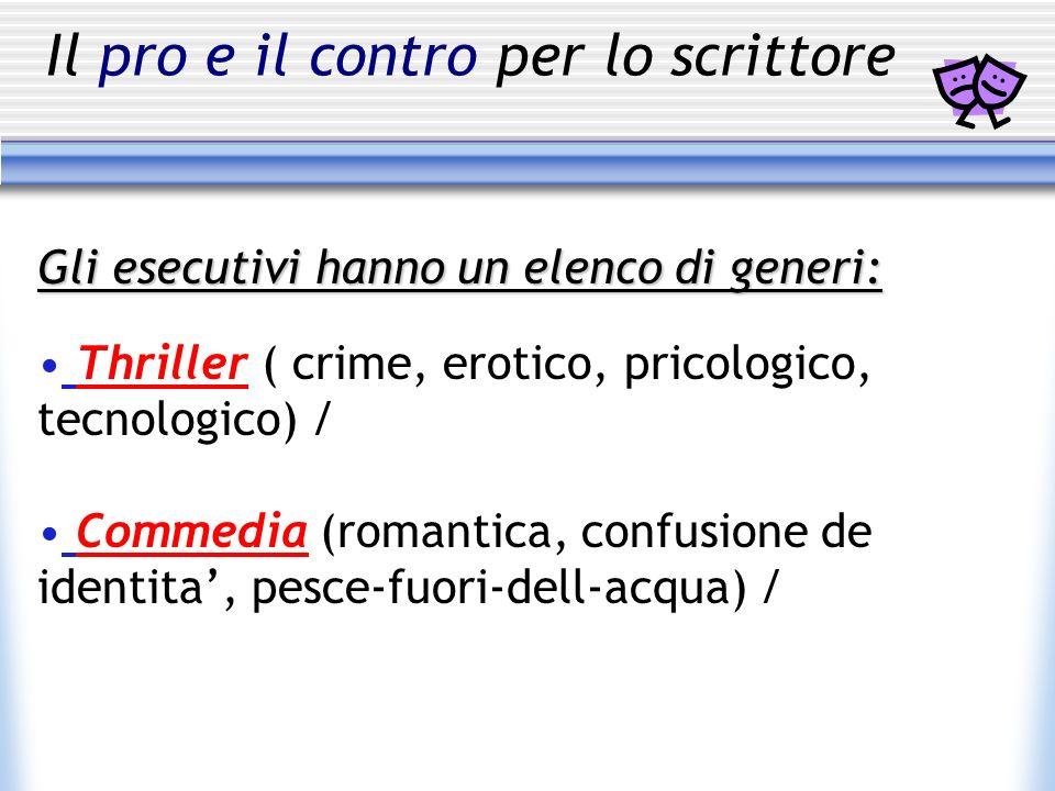 Il pro e il contro per lo scrittoreGli esecutivi hanno un elenco di generi: Thriller ( crime, erotico, pricologico, tecnologico) / Commedia (romantica