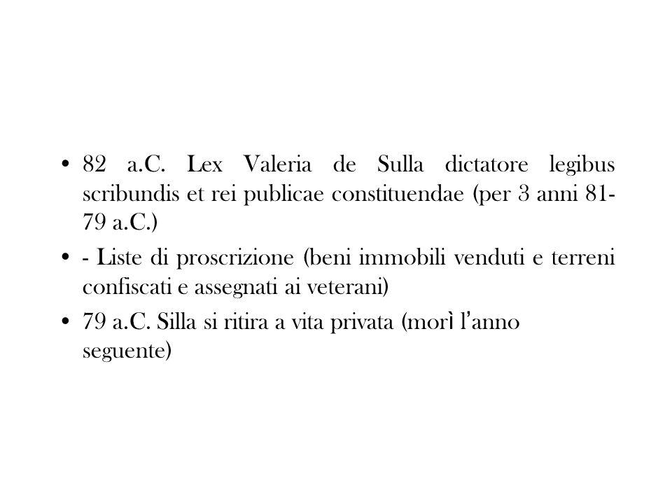 82 a.C. Lex Valeria de Sulla dictatore legibus scribundis et rei publicae constituendae (per 3 anni 81- 79 a.C.) - Liste di proscrizione (beni immobil