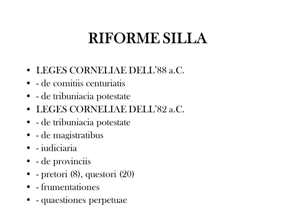 RIFORME SILLA LEGES CORNELIAE DELL 88 a.C. - de comitiis centuriatis - de tribuniacia potestate LEGES CORNELIAE DELL 82 a.C. - de tribuniacia potestat