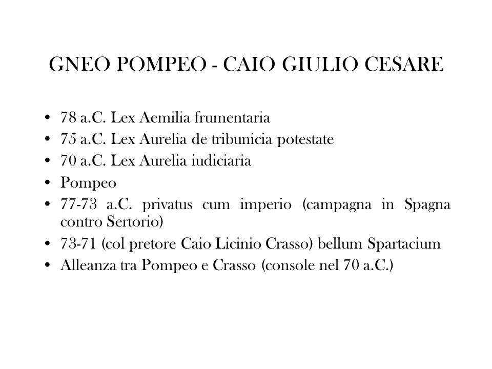 GNEO POMPEO - CAIO GIULIO CESARE 78 a.C. Lex Aemilia frumentaria 75 a.C. Lex Aurelia de tribunicia potestate 70 a.C. Lex Aurelia iudiciaria Pompeo 77-