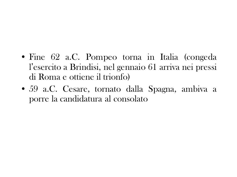 Fine 62 a.C. Pompeo torna in Italia (congeda l esercito a Brindisi, nel gennaio 61 arriva nei pressi di Roma e ottiene il trionfo) 59 a.C. Cesare, tor