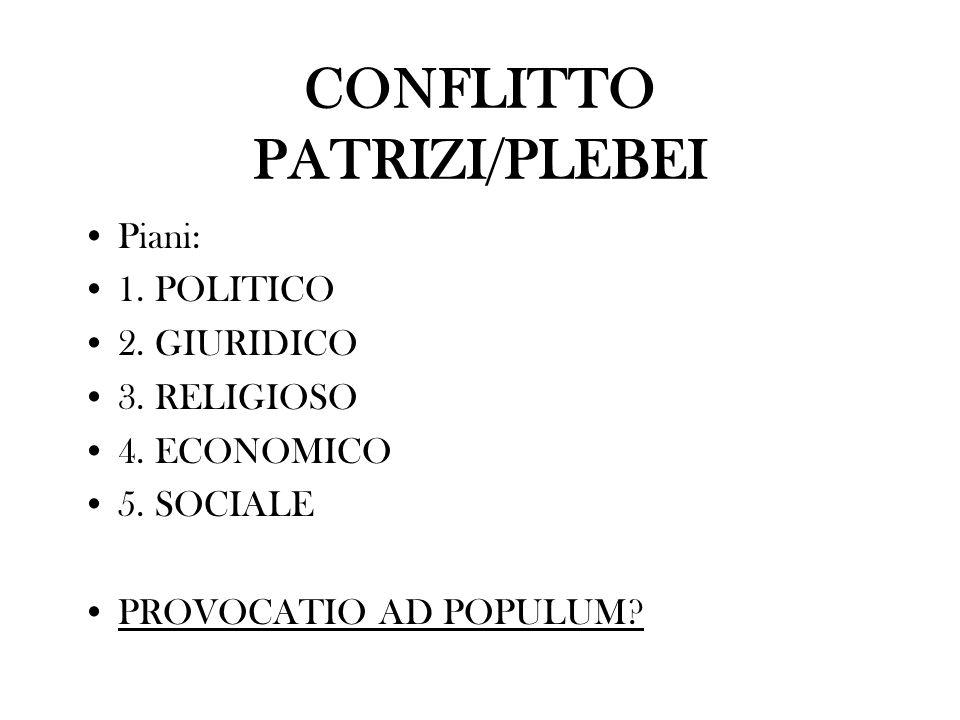CONFLITTO PATRIZI/PLEBEI Piani: 1. POLITICO 2. GIURIDICO 3. RELIGIOSO 4. ECONOMICO 5. SOCIALE PROVOCATIO AD POPULUM?