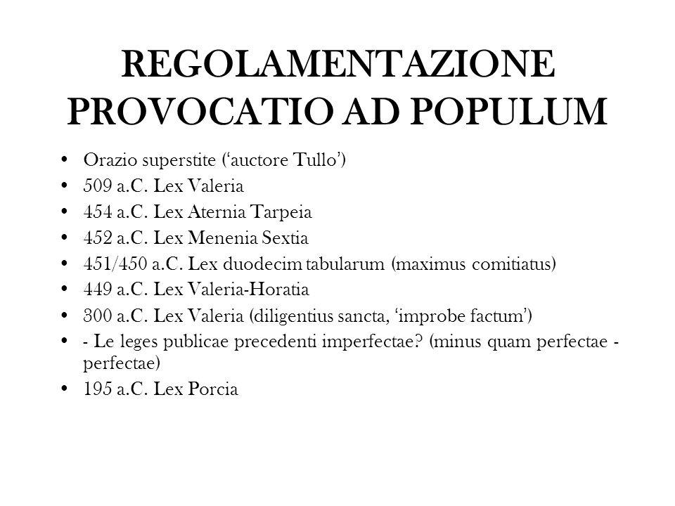 REGOLAMENTAZIONE PROVOCATIO AD POPULUM Orazio superstite ( auctore Tullo ) 509 a.C. Lex Valeria 454 a.C. Lex Aternia Tarpeia 452 a.C. Lex Menenia Sext
