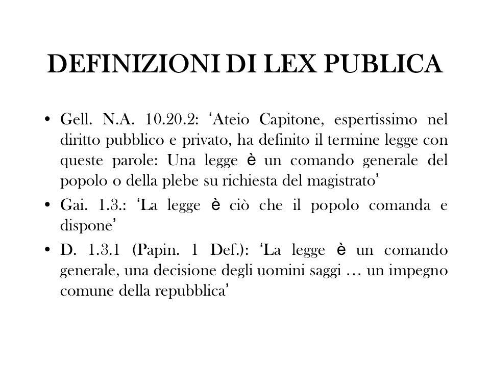 DEFINIZIONI DI LEX PUBLICA Gell. N.A. 10.20.2: Ateio Capitone, espertissimo nel diritto pubblico e privato, ha definito il termine legge con queste pa