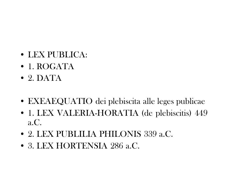 LEX PUBLICA: 1. ROGATA 2. DATA EXEAEQUATIO dei plebiscita alle leges publicae 1. LEX VALERIA-HORATIA (de plebiscitis) 449 a.C. 2. LEX PUBLILIA PHILONI