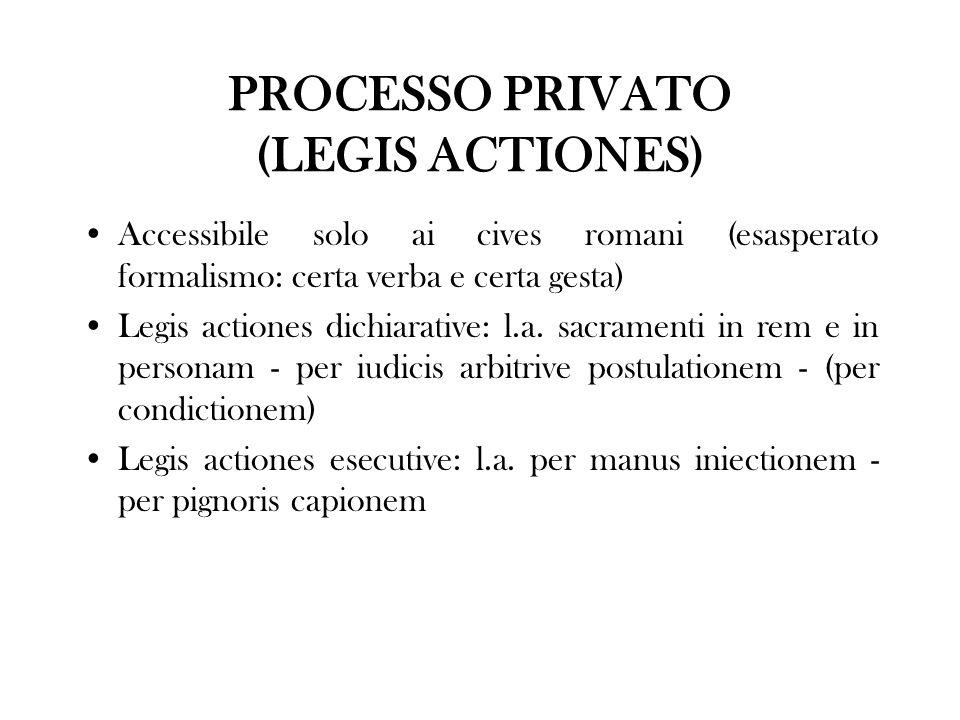 PROCESSO PRIVATO (LEGIS ACTIONES) Accessibile solo ai cives romani (esasperato formalismo: certa verba e certa gesta) Legis actiones dichiarative: l.a