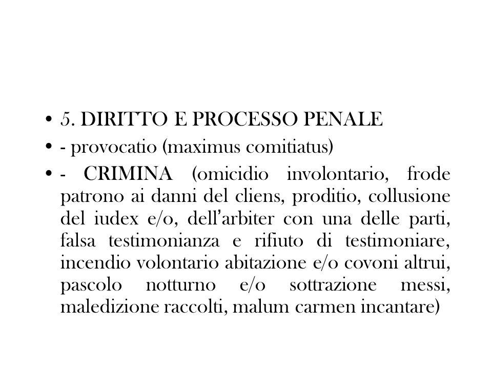 5. DIRITTO E PROCESSO PENALE - provocatio (maximus comitiatus) - CRIMINA (omicidio involontario, frode patrono ai danni del cliens, proditio, collusio