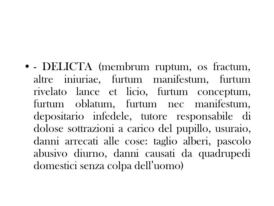 - DELICTA (membrum ruptum, os fractum, altre iniuriae, furtum manifestum, furtum rivelato lance et licio, furtum conceptum, furtum oblatum, furtum nec