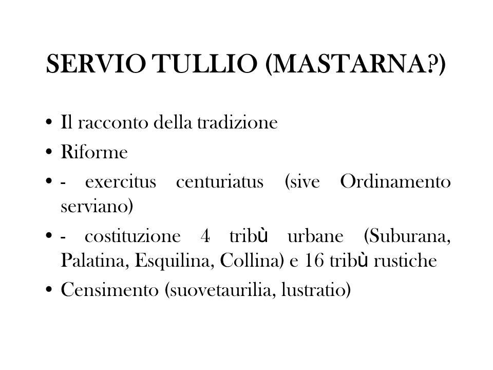 EXERCITUS CENTURIATUS (SIVE ORDINAMENTO SERVIANO) STRUTTURA (fanteria oplitica - = armato con armi pesanti) 18 centurie di equites (6 + 12) I classe (40 iuniores + 40 seniores) 100.000 assi e pi ù II classe (10 + 10) 75.000-100.000 assi III classe (10 + 10)50.000-75.000 assi IV classe (10 + 10)25.000-50.000 assi V classe (15 + 15)11.000-25.000 assi 5(6) centurie (2 fabri tignarii e ferrarii + 2 cornicines e tibicines + 1 accensi velati [+ 1 capite censi]) Tot.