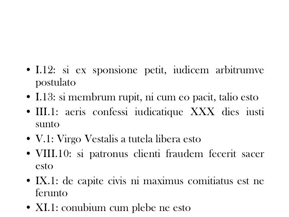 I.12: si ex sponsione petit, iudicem arbitrumve postulato I.13: si membrum rupit, ni cum eo pacit, talio esto III.1: aeris confessi iudicatique XXX di