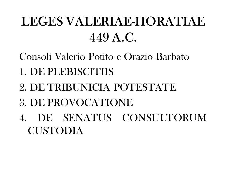LEGES VALERIAE-HORATIAE 449 A.C. Consoli Valerio Potito e Orazio Barbato 1. DE PLEBISCITIIS 2. DE TRIBUNICIA POTESTATE 3. DE PROVOCATIONE 4. DE SENATU