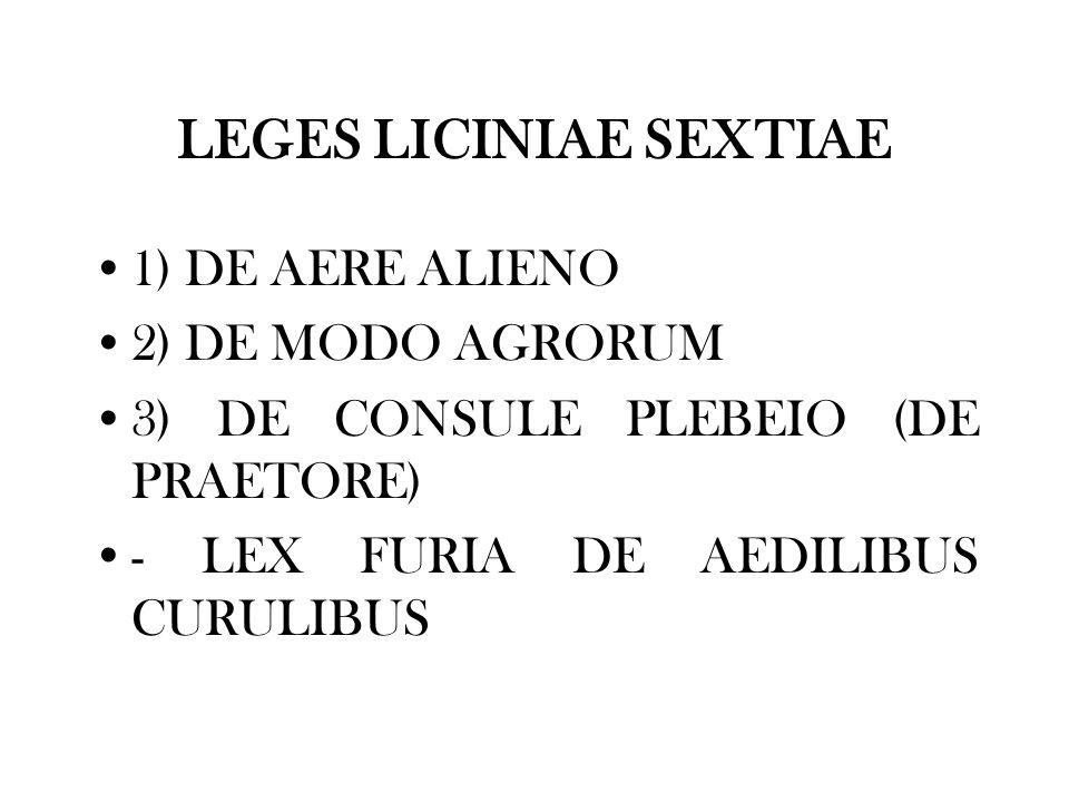 LEGES LICINIAE SEXTIAE 1) DE AERE ALIENO 2) DE MODO AGRORUM 3) DE CONSULE PLEBEIO (DE PRAETORE) - LEX FURIA DE AEDILIBUS CURULIBUS