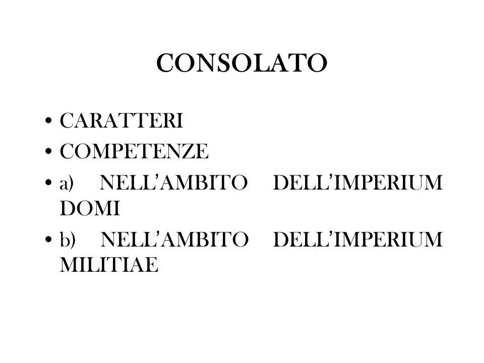CONSOLATO CARATTERI COMPETENZE a) NELL AMBITO DELL IMPERIUM DOMI b) NELL AMBITO DELL IMPERIUM MILITIAE