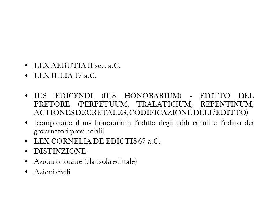 LEX AEBUTIA II sec. a.C. LEX IULIA 17 a.C. IUS EDICENDI (IUS HONORARIUM) - EDITTO DEL PRETORE (PERPETUUM, TRALATICIUM, REPENTINUM, ACTIONES DECRETALES