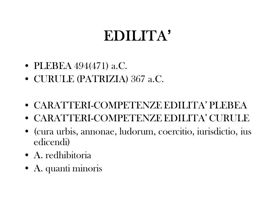 EDILITA PLEBEA 494(471) a.C. CURULE (PATRIZIA) 367 a.C. CARATTERI-COMPETENZE EDILITA PLEBEA CARATTERI-COMPETENZE EDILITA CURULE (cura urbis, annonae,