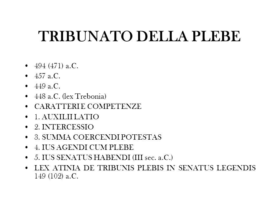 TRIBUNATO DELLA PLEBE 494 (471) a.C. 457 a.C. 449 a.C. 448 a.C. (lex Trebonia) CARATTERI E COMPETENZE 1. AUXILII LATIO 2. INTERCESSIO 3. SUMMA COERCEN