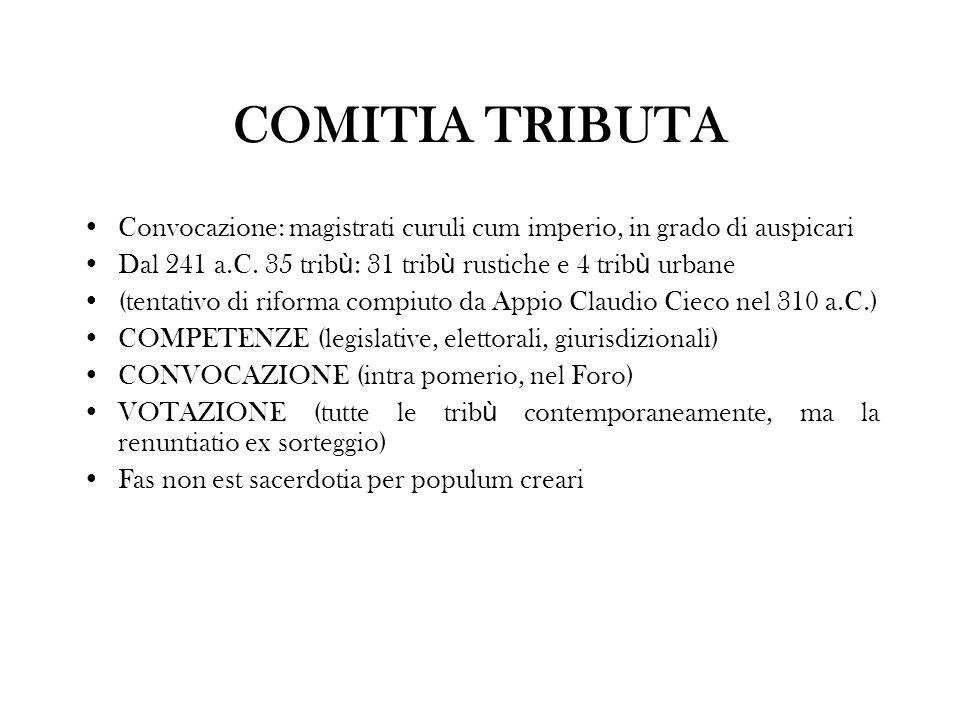 COMITIA TRIBUTA Convocazione: magistrati curuli cum imperio, in grado di auspicari Dal 241 a.C. 35 trib ù : 31 trib ù rustiche e 4 trib ù urbane (tent