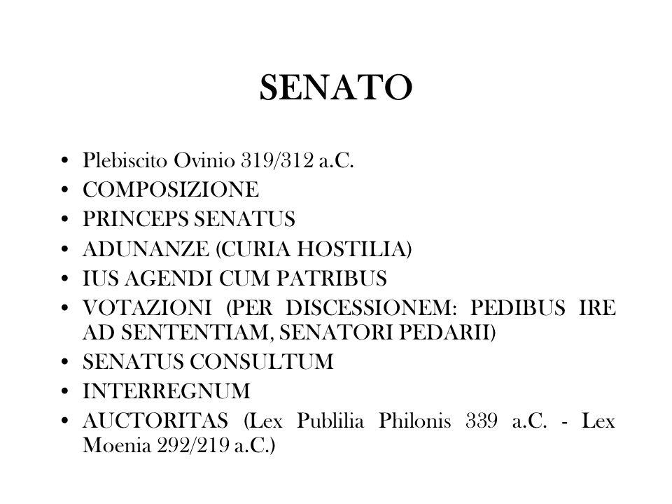 SENATO Plebiscito Ovinio 319/312 a.C. COMPOSIZIONE PRINCEPS SENATUS ADUNANZE (CURIA HOSTILIA) IUS AGENDI CUM PATRIBUS VOTAZIONI (PER DISCESSIONEM: PED
