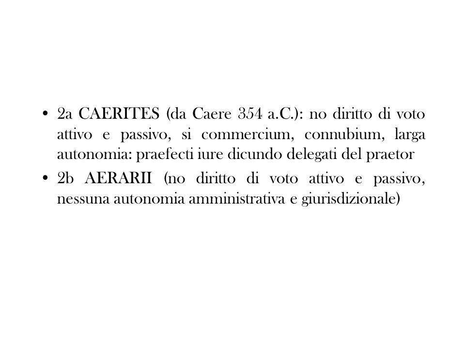2a CAERITES (da Caere 354 a.C.): no diritto di voto attivo e passivo, si commercium, connubium, larga autonomia: praefecti iure dicundo delegati del p