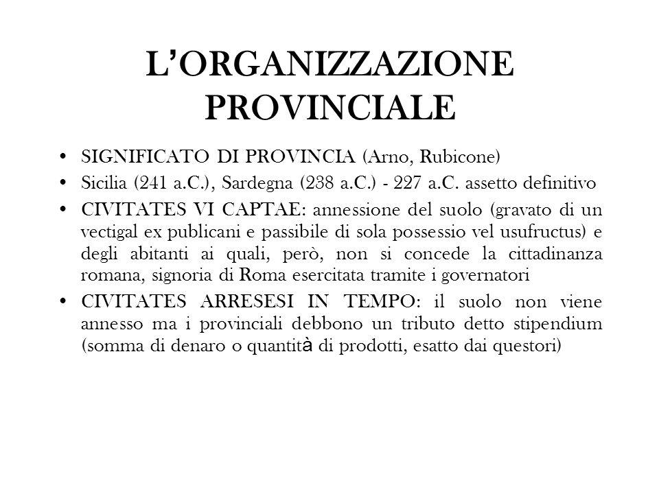 L ORGANIZZAZIONE PROVINCIALE SIGNIFICATO DI PROVINCIA (Arno, Rubicone) Sicilia (241 a.C.), Sardegna (238 a.C.) - 227 a.C. assetto definitivo CIVITATES