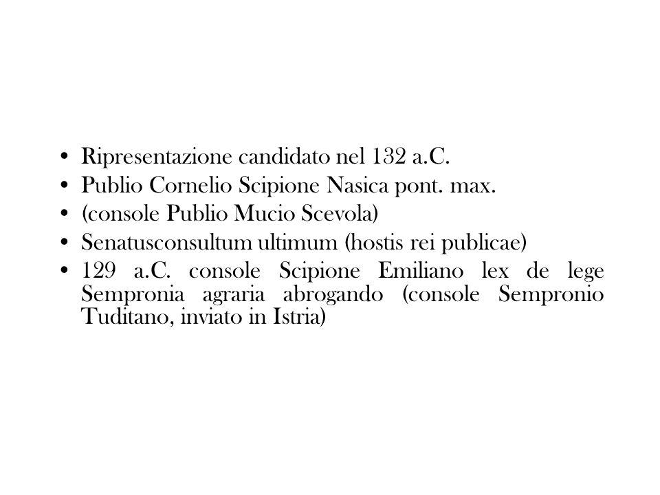 Ripresentazione candidato nel 132 a.C. Publio Cornelio Scipione Nasica pont. max. (console Publio Mucio Scevola) Senatusconsultum ultimum (hostis rei