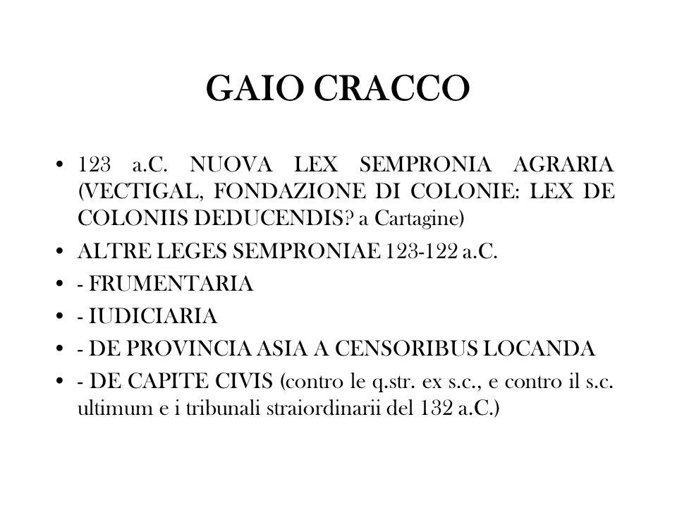 GAIO CRACCO 123 a.C. NUOVA LEX SEMPRONIA AGRARIA (VECTIGAL, FONDAZIONE DI COLONIE: LEX DE COLONIIS DEDUCENDIS? a Cartagine) ALTRE LEGES SEMPRONIAE 123