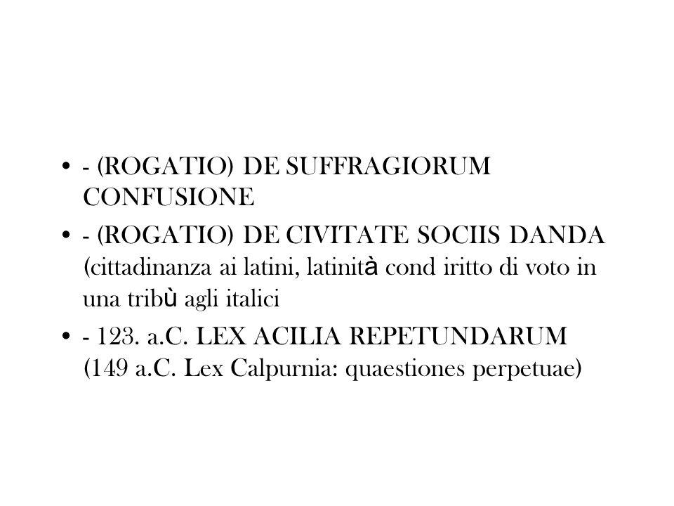 - (ROGATIO) DE SUFFRAGIORUM CONFUSIONE - (ROGATIO) DE CIVITATE SOCIIS DANDA (cittadinanza ai latini, latinit à cond iritto di voto in una trib ù agli